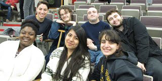 Adelphi students at a debate event